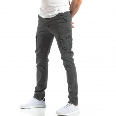 Мъжки панталон тип карго в тъмно сиво it210319-24 3