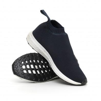 Мъжки slip-on маратонки тип чорап в синьо it130819-2 4