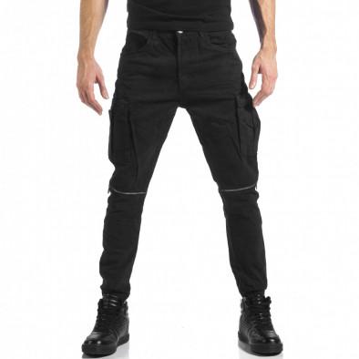 Мъжки черен карго панталон с ципове it041217-43 2