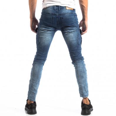 Мъжки сини Slim Cargo дънки с кръпки it250918-17 4