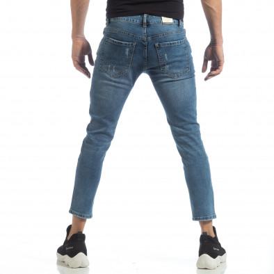 Сини мъжки дънки с принт кръпки it040219-5 4