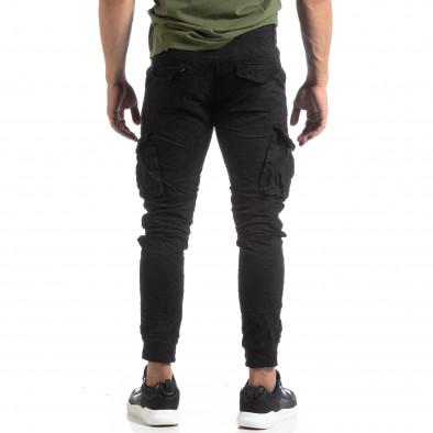 Мъжки намачкан панталон Cargo в черно it170819-17 4