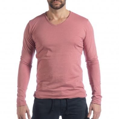 Мъжка блуза V-neck в розово it040219-86 2