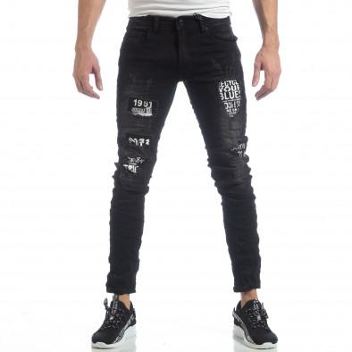 Черни мъжки дънки с принт кръпки it040219-24 3