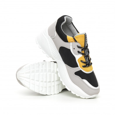 Олекотени дамски маратонки в сиво и жълто it130819-62 4