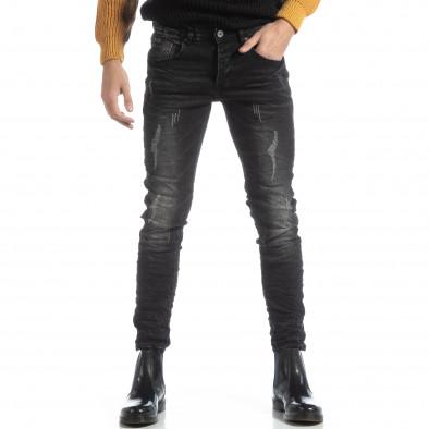Черни мъжки дънки Slim fit с прокъсвания it051218-6 3