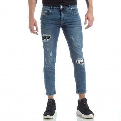 Сини мъжки дънки с принт кръпки it040219-5 3