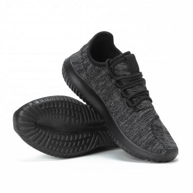 Мъжки маратонки олекотен модел черен меланж it150818-17 4