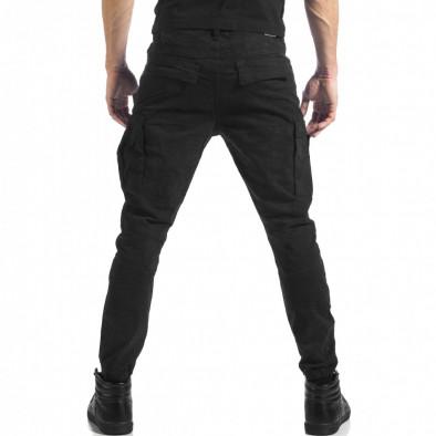 Мъжки черен карго панталон с ципове it041217-43 3