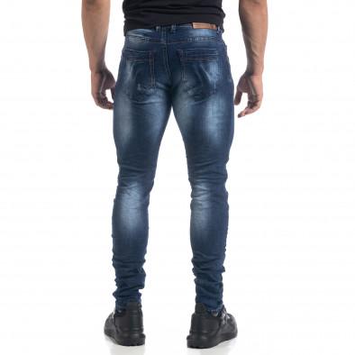 Мъжки сини дънки с ефекти Fashion Slim fit  it071119-14 3