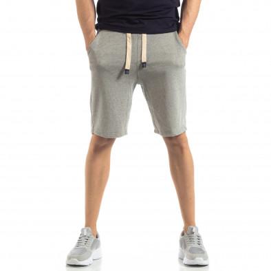 Мъжки сиви шорти на тънко райе it210319-65 2