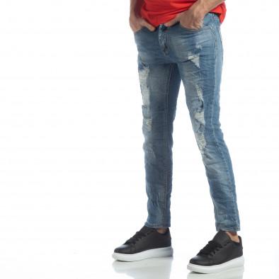 Мъжки сини дънки с големи прокъсвания it040219-22 2