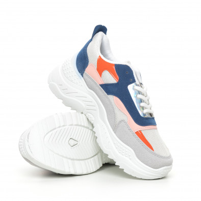 Бели дамски маратонки с цветни детайли it130819-77 4