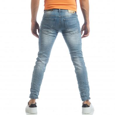 Slim fit мъжки прокъсани дънки светъл деним it040219-12 4