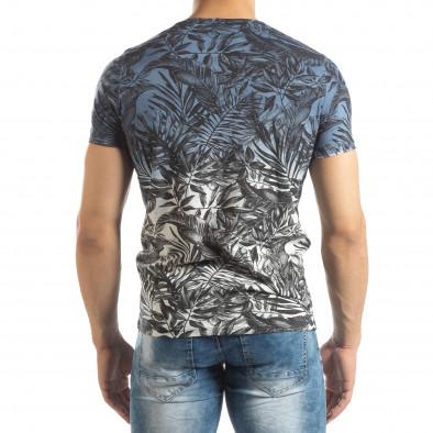 Мъжка синя тениска с преливане Leaves мотив it150419-106 4
