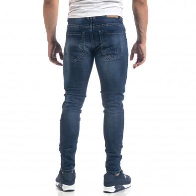 Мъжки сини дънки с ефектни кръпки Slim fit it071119-17 4