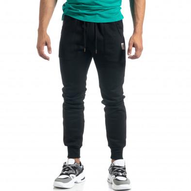 Мъжко черно долнище с апликирани джобове it041019-12 2
