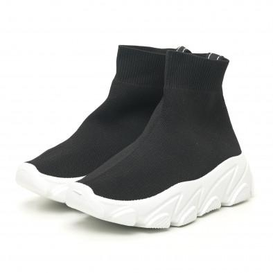 Дамски черни маратонки тип чорап с бяла подметка it281019-1 3