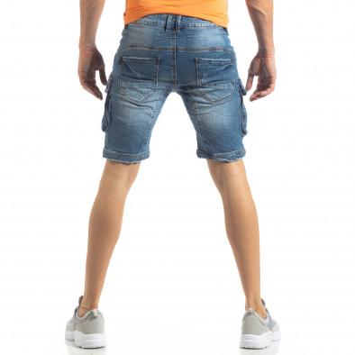 Карго къси мъжки дънки в синьо it210319-31 4