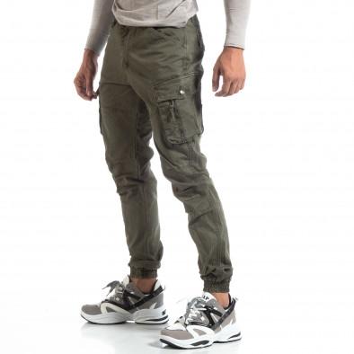 Зелен мъжки панталон с ципове на джобовете it170819-3 2