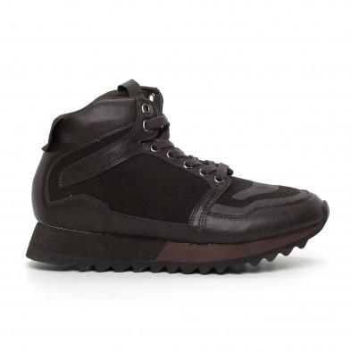 Мъжки високи спортни обувки в кафяво it130819-26 2
