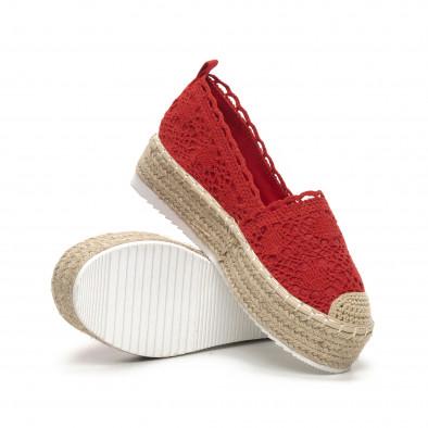 Червени плетени дамски еспадрили Rustic style it240419-38 4