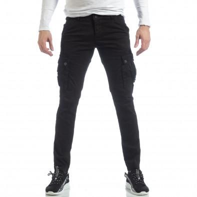 Черен мъжки панталон с карго джобове it040219-40 2