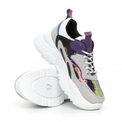 Chunky дамски маратонки с лилави акценти it130819-58 4