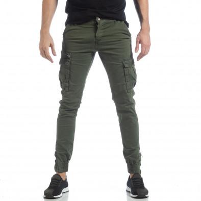 Зелен карго панталон с ципове на крачолите it040219-35 3