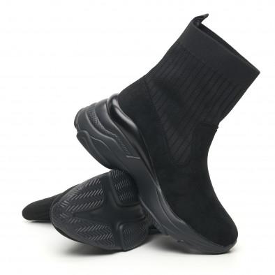 Дамски черни маратонки тип чорап с обемна подметка it281019-19 4