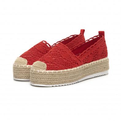 Червени плетени дамски еспадрили Rustic style it240419-38 3
