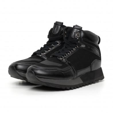 Мъжки високи спортни обувки в черно it130819-23 3
