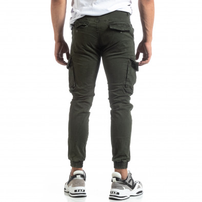 Зелен мъжки карго панталон с ластични маншети it170819-20 4