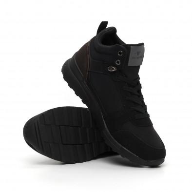Черни мъжки спортни боти тип кецове it260919-45 5