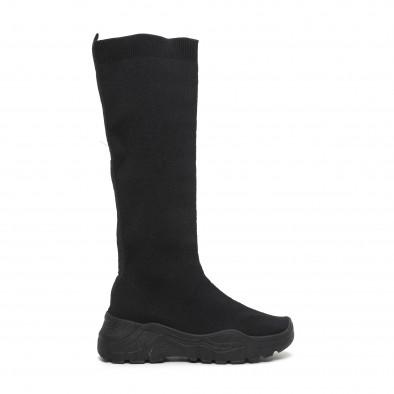 Дамски черни ботуши тип чорап it260919-65 2