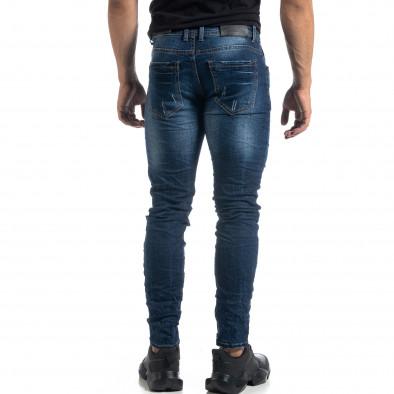 Изтъркани мъжки сини дънки с прокъсвания Slim fit it041019-29 4