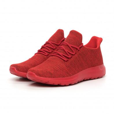 Мъжки маратонки червен меланж с декорация it130819-11 3