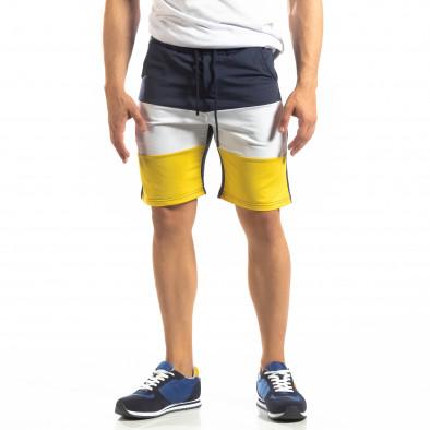 Сини мъжки шорти с бяло и жълто it150419-30 2