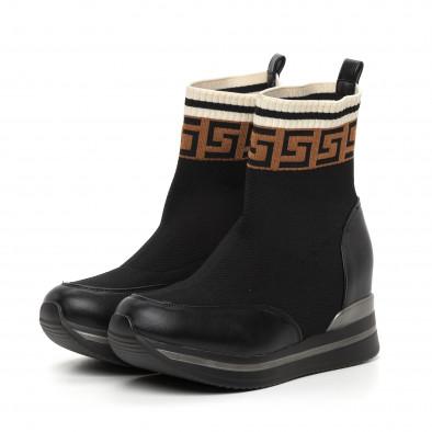 Дамски черни боти чорап с вградена платформа it130819-41 3