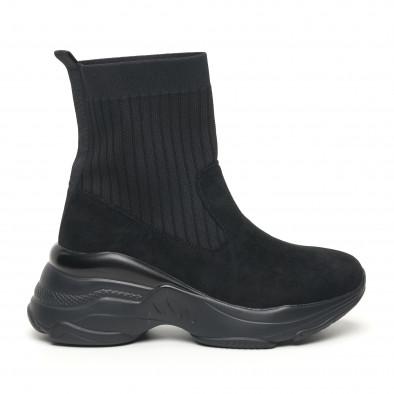 Дамски черни маратонки тип чорап с обемна подметка it281019-19 2