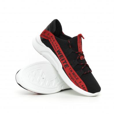 Текстилни мъжки маратонки с червени надписи it130819-22 4