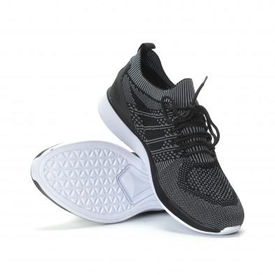 Меки мъжки маратонки плетени в сиво-черно it190219-3 4