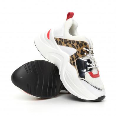 Дамски обемни маратонки бяло и леопард it130819-83 4