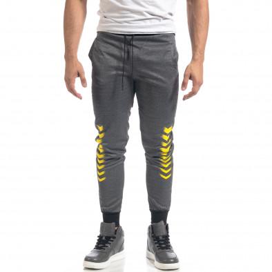 Сив мъжки спортен комплект с жълти акценти it071119-44 4