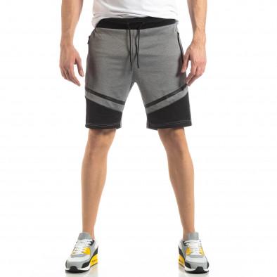 Мъжки шорти в сиво с черен акцент it210319-67 2