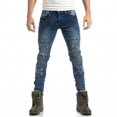 Рокерски мъжки дънки с камуфлажни кръпки it261018-1 3