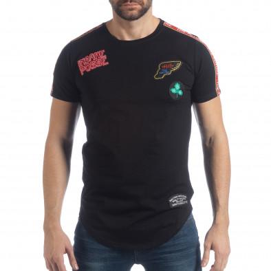 Черна мъжка тениска с апликации it040219-119 2