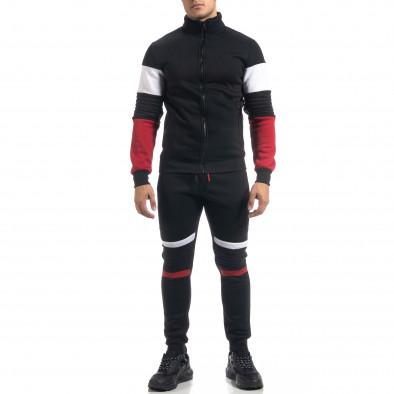 Черен ватиран мъжки спортен комплект Biker style it071119-50 3