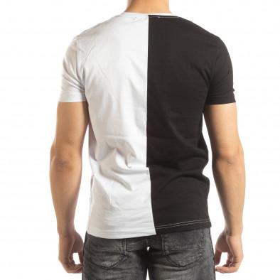 Мъжка тениска в черно и бяло с принт it150419-57 3