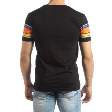 Мъжка черна тениска с цветни райета it150419-53 3